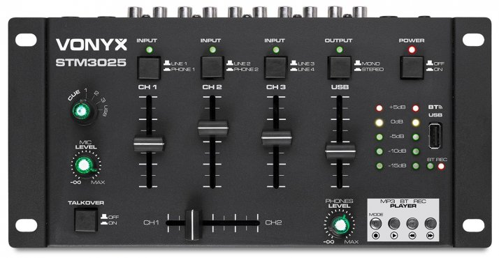 Vonyx STM3025 4-Channel Mixer USB/MP3/BT